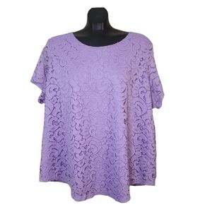 TanJay Plus | Lace Overlay Flutter Sleeve Blouse